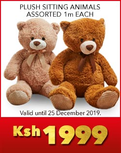 PLUSH SITTING ANIMALS ASSORTED 1m EACH, Ksh1999